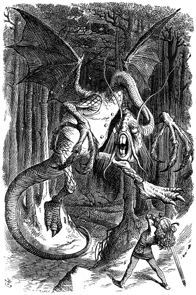 An illustration of the Jabberwocky by John Tenniel in black and white