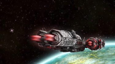 scifi image of a spaceship near an alien world