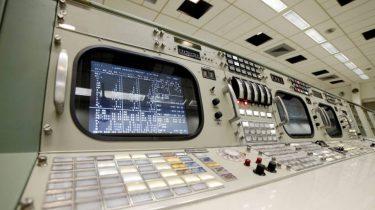 Computer consoles from the NASA Apollo command center