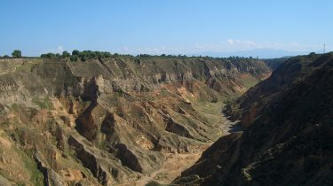 A canyon cutting through the Loess Plateau in China